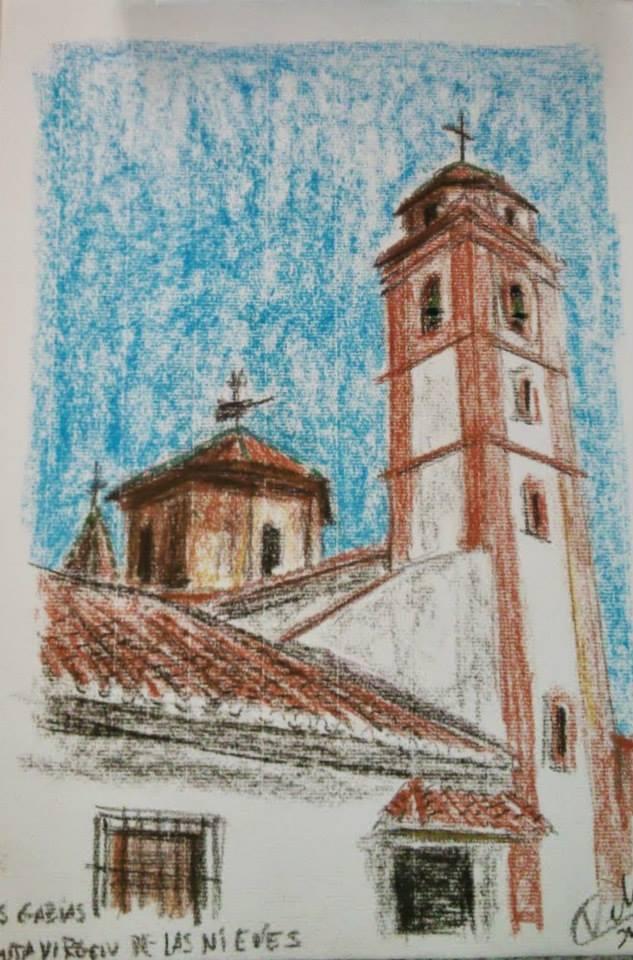 Dibujo en color de la ermita de la Virgen de las Nieves