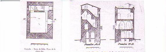 Planta tercera y perfil del Torreón